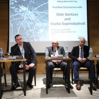 From left to right, moderator Temur Kiguradze, Oleg Sentsov, Vazha Gaprindashvili, Giorgi Dgebuadze, and Levan Asatiani. (Photo: Davit Mdzdinarishvili)