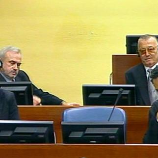 Jovica Stanisic, second from left, and Franko Simatovic beside him at the May 30 hearing. (Photo: ICTY)