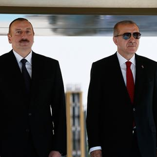 Turkish President Recep Tayyip Erdogan (R) with Ilham Aliyev, President of the Republic of Azerbaijan (L) at Turkish Presidental Palace in Ankara, Turkey, April 2018. (Photo: Turkish President Press Office via Getty Images)