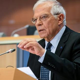 EU High Representative Josep Borrell during a statement on the Karabakh ceasefire's importance. (Photo: EU Press office)