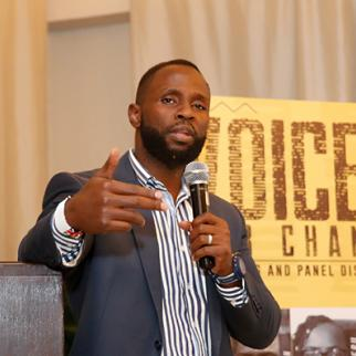 John-Allan Namu of Africa Uncensored speaking at a Voices for Change roundtable event in Nairobi, Kenya. July 2019. (Photo courtesy of John-Allan Namu)