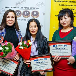 Kyrgyz investigative reporters, winners of IWPR competition in Bishkek. (Photo: IWPR)