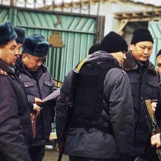 Kyrgyz squad on patrol at the border checkpoint in Kok Tash.