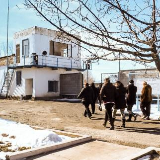 Convicts going for a walk at Kyrgyzstan's only women's prison at Stepnoe.