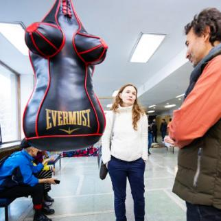 A punch bag as the symbol of domestic violence was removed from the exhibition. The committee found it provocative. (Photo courtesy of the Feminnale organisers)
