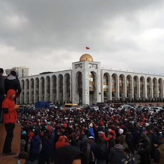 The main Ala-Too square in capital Bishkek today, 6 October, 2020.