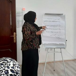 Longtime IWPR partner Libyan Organisation for Development hosts a training for 30 women social workers in Benghazi.