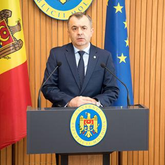 Prime-minister Ion Chicu at a press briefing without a press. (Photo: gov.md )