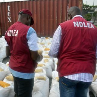 NDLEA workers discover 165kg of narcotics hidden in food supplies. (Photo: NDLEA Nigeria)