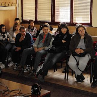 High school pupils in Pancevo, Serbia, watch one of the IWPR-produced films. (Photo: Iva Martinovic)