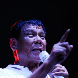 Philippine presidential candidate Rodrigo Duterte during a labor day campaign rally on May 1, 2016 in Manila. (Photo: Dondi Tawatao/Getty Images)