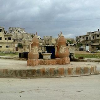 Al-Dala square in Maarrat al-Nu'man city where killings and abductions are frequent. (Photo: Dareen Hassan)