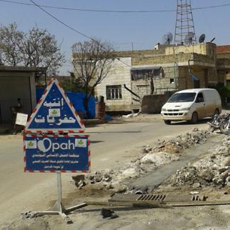 A sewage network is installed in Kfar Nabel. (Photo: Maha al-Ahmad)