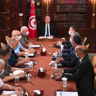 President Kais Saied chairs an emergency meeting with military and security leaders on July 25, 2021.