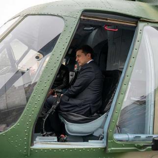 Ukrainian President Volodomyr Zelensky at a weapons exhibition