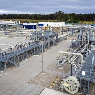A pipeline receiving station for Nord Stream 2 in Germany.