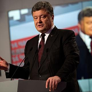 Ukrainian president Petro Poroshenko speaking the day a parliamentary election was held, October 26, 2014. (Photo: David Ramos/Getty Images)