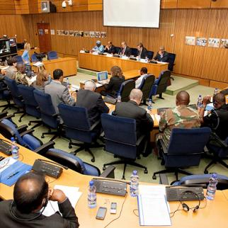 Representatives of the African Union, United Nations, and the Government of the Sudan meet in Addis Ababa to discuss the UNAMID mission in Darfur. (Photo: UN Photo/Olivier Chassot)
