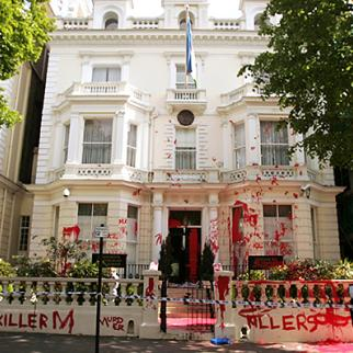 Protesters covered the Uzbek embassy in London in red paint after the Andijan killings. May 17, 2005. (Photo: Bruno Vincent/Getty Images)