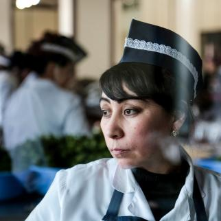 Rano is a seamstress by trade, but now works at a café in Tashkent. She said she has a guaranteed wage and likes her work. Rano is officially registered at work, which guarantees her an above minimum pension.