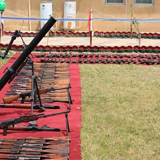 Asaib Ahl al-Haq shows off some of its weapons. (Photo: IWPR)