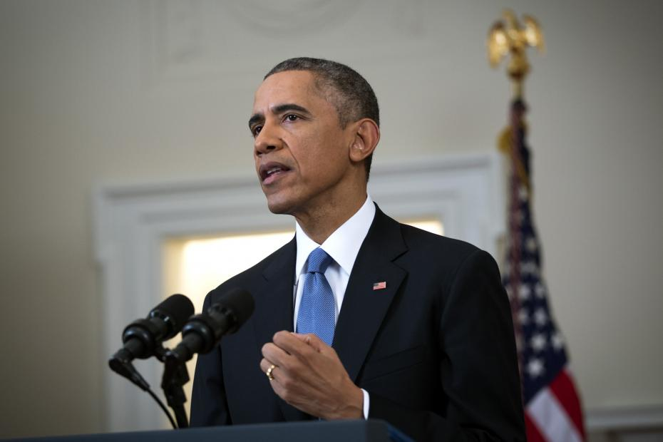 U.S. President Barack Obama speaks to the nation about normalising diplomatic relations the Cuba in the Cabinet Room of the White House on December 17, 2014 in Washington, DC.