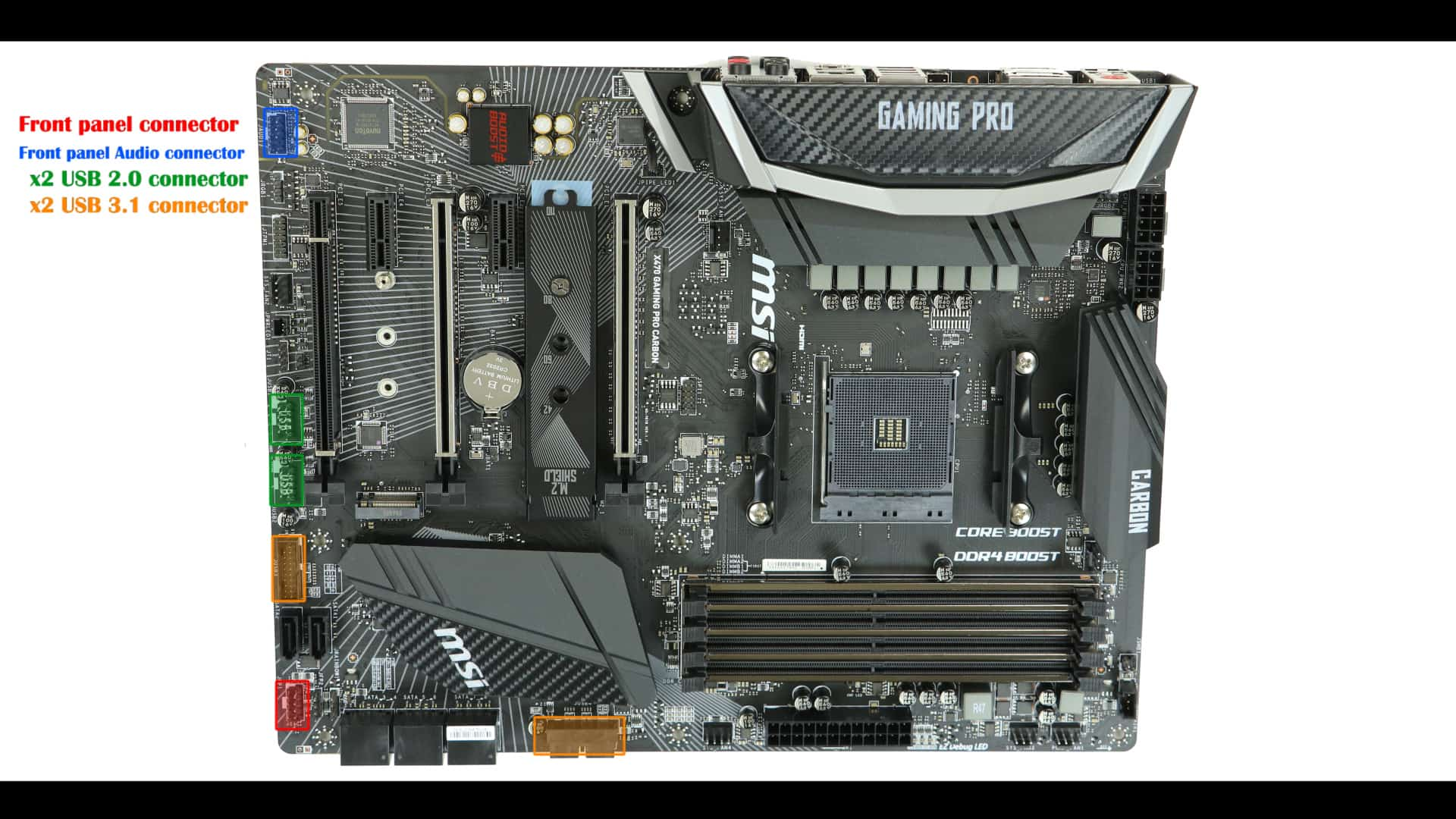 MSI X470 Gaming Pro Carbon Board Connectors