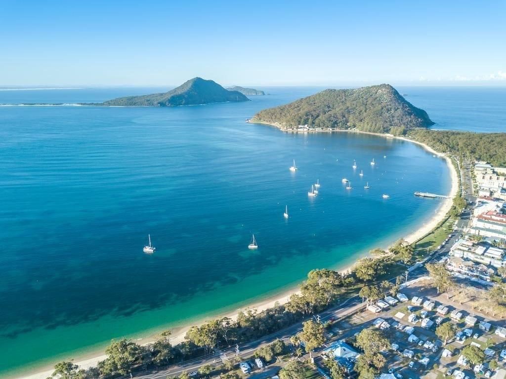 shoal-bay-best-beaches-in-newcastle-australia-drone-shot