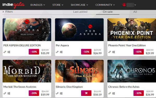 Indie Gala store offers game deals and game bundles.