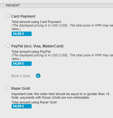 GamersGate payment options.