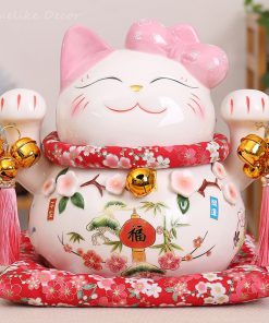 Maneki Neko Ceramic Lucky Cat Pink Ornament