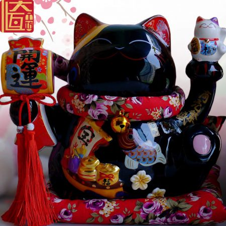 Maneki Neko Ceramic Black Lucky Cat