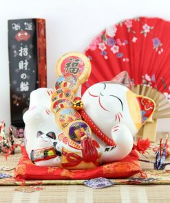 New 8 Inch Fengshui Lucky Cat Maneki Neko