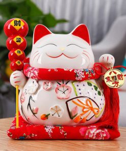 10 Inch Ceramic Maneki Neko Fengshui Cat