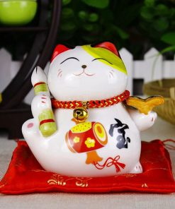 4 inch Maneki Neko Ceramic Fengshui Cat Home Decor