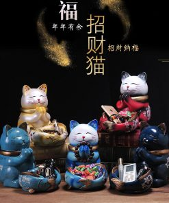Unique Ceramic Lucky Maneki Neko Cat Figurines