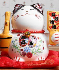 5 inch Hot Ceramic Maneki Neko Statue Porcelain