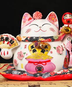 10 Inch Ceramic Fengshui Cat Maneki Neko
