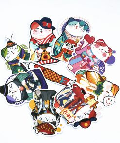 9Pcs Maneki Neko Lucky Cat Adorable Sticker