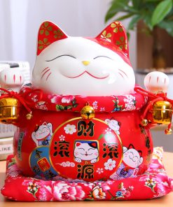 7 Inch Chinese Style Maneki-Neko Ceramic Lucky Cat