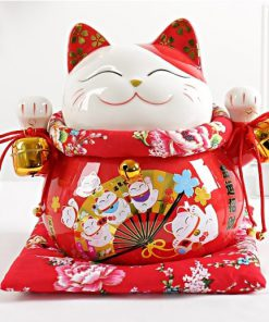 10 inch Ceramic Maneki Neko Fortune Cat