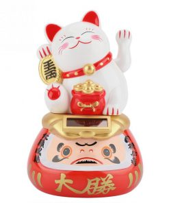 Solar Powered Maneki Neko With Daruma Shaking Hands