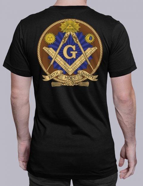Faith Hope and Charity Masonic T-shirt Faith Hope and Charity black shirt back 3