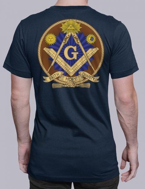 Faith Hope and Charity Masonic T-shirt Faith Hope and Charity navy shirt back 3