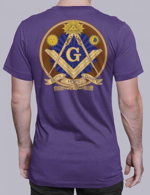 Faith Hope and Charity Masonic T-shirt Faith Hope and Charity purple shirt back 3