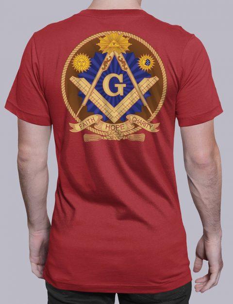Faith Hope and Charity Masonic T-shirt Faith Hope and Charity red shirt back 3