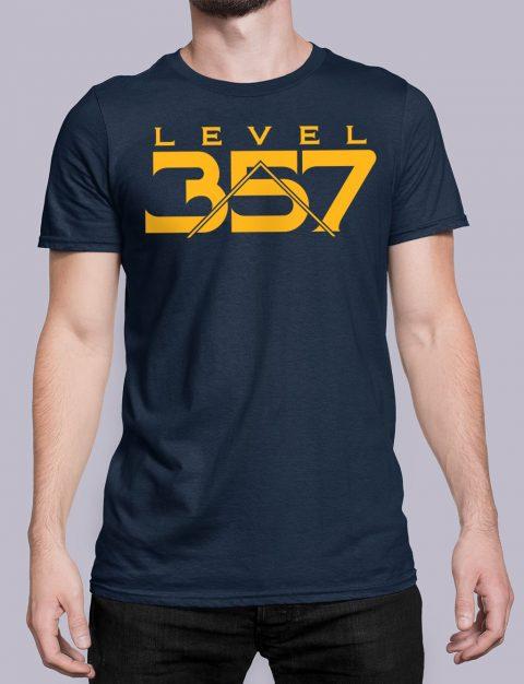 Level 357 Masonic T-shirt Level 357 front navy shirt 17
