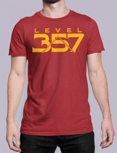 Level 357 Masonic T-shirt Level 357 front red shirt 17
