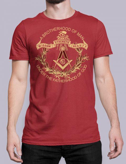 A Brotherhood Of Man Masonic T-Shirt A Brotherhood Of Man front red shirt