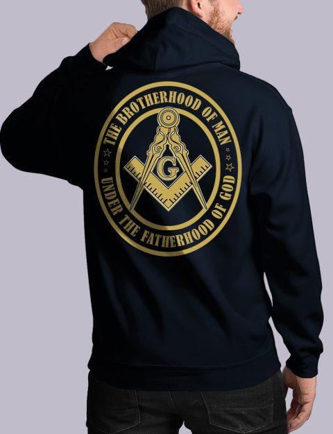 The Brothehood Of Man Masonic Hoodie Back bros of man back navy hoodie